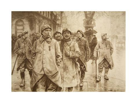 Boulevardiers of the Moment: Jubilant Heroes from the Trenches on Leave in Paris Stampa giclée
