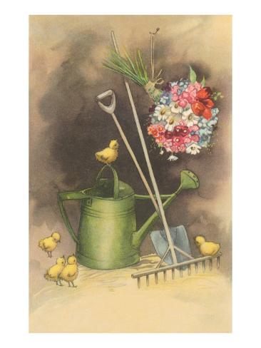 Bouquet Drying with Garden Implements Art Print