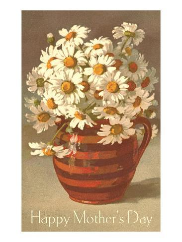 Bouquet of Daisies in Earthenware Pitcher Stampa artistica