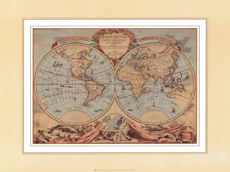 World Map from 18th Century Art Print