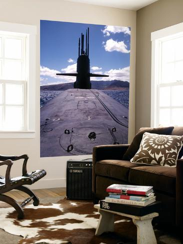 Bow and Sail View of USS Kamehameha, SSN 642, on the Surface off the Coast of Oahu, Hawaii Giant Art Print