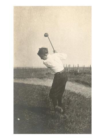 Boy Golfing in Field Art Print
