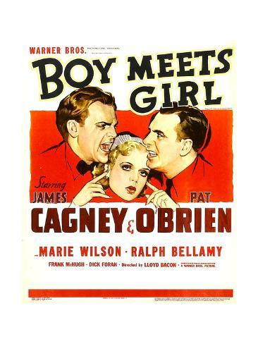 BOY MEETS GIRL, from left: James Cagney, Marie Wilson, Pat O'Brien, 1938. Stretched Canvas Print