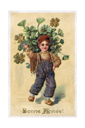 Boy with Clover Stampa giclée