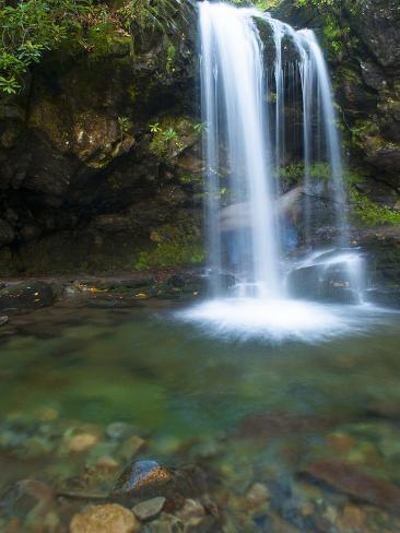 Smoky Mountain Natioanl Park: a Hiker Running Behind Grotto Falls Photographic Print