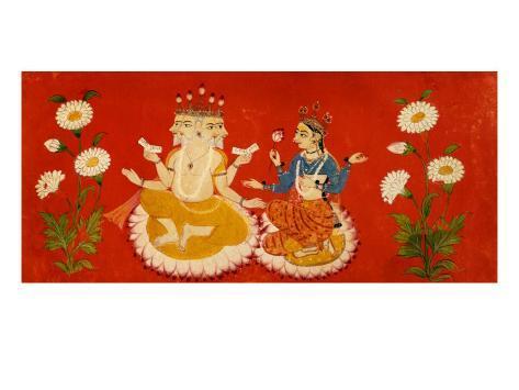 Brahma Seated with Saraswati Brahma Holding Four Vedas and Saraswai Clutching Lotus Petal, c.1650 Giclee Print