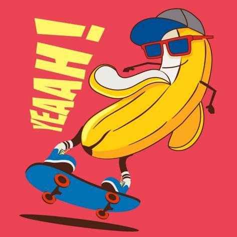 Skate and Cartoon Skater Banana Vector Character Posters by ...