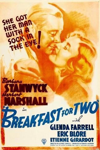 Breakfast For Two, Herbert Marshall, Barbara Stanwyck, 1937 Art Print