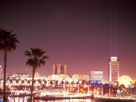 Skyline from the Park at Long Beach Harbor, Long Beach, California, USA Photographic Print