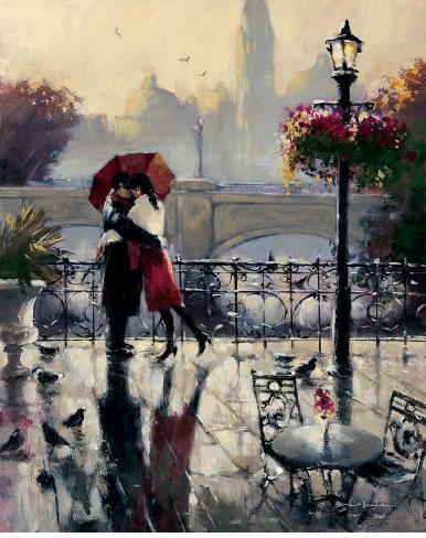 Romantic Embrace Art Print