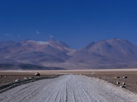 Dirt Road with Mountains Behind Near Lake Verde, Lake Verde, Bolivia Photographic Print