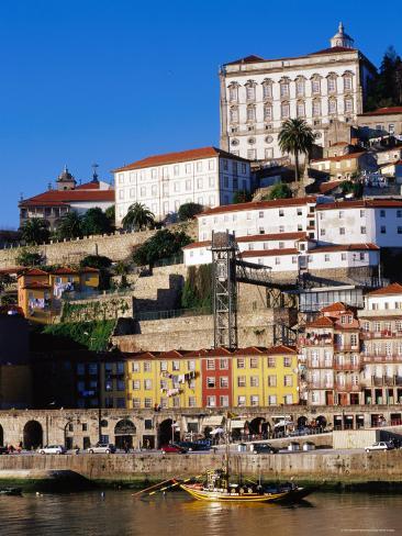 Douro River, Ribeira Area and Cathedral, Porto, Douro, Portugal Photographic Print