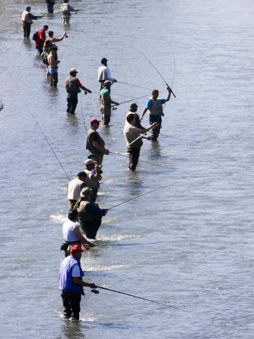 Fishermen Line Ship Creek During Salmon Run, Anchorage, Alaska Photographic Print