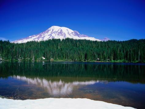 Mt. Rainier from Reflection Lake, Mt. Rainier National Park, USA Photographic Print