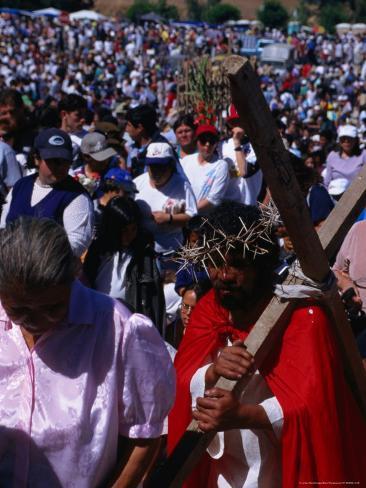 Pilgrim in Santuario De La Inmaculada Concepcion Parade, Chile Photographic Print