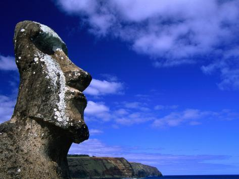 Traditional Moai Carved from Soft Volcanic Rock, Ahu Tongariki, Chile Photographic Print