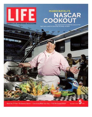 Chef Mario Batali Preparing a NASCAR Cookout at Texas Motor Speedway, May 5, 2006 Photographic Print