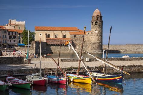 Boats, Eglise Notre Dame Des Anges Church, Collioure, Languedoc-Roussillon, France Photographic Print
