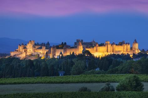 La Cite Carcassonne, Fortified Medieval Town, Languedoc-Roussillon, France Photographic Print