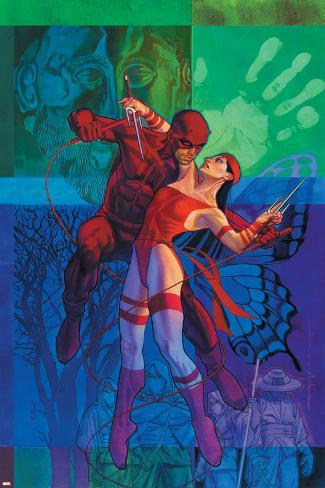 Elektra No.35 Cover: Daredevil and Elektra Fighting and Shooting Poster
