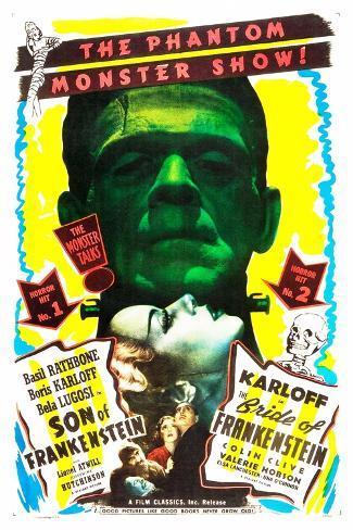 Bride of Frankenstein / Son of Frankenstein double feature poster featuring Boris Karloff Stampa artistica