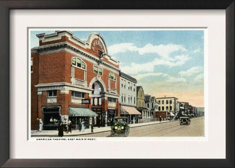 Bridgeport, Connecticut - East Main Street View of the American Theatre Framed Art Print