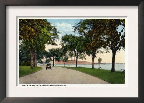 Bridgeport, Connecticut - Seaside Park Drive View Showing Locomobile Company Framed Art Print