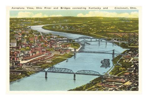 Bridges over Ohio River, Cincinnati, Ohio Art Print