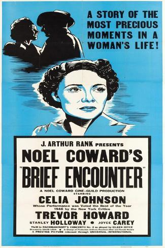 Brief Encounter, Celia Johnson on US poster art, 1945 Art Print