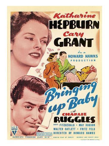 Bringing Up Baby, Katharine Hepburn, Cary Grant on Midget Window Card, 1938 Stretched Canvas Print