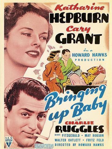 Bringing Up Baby, Katharine Hepburn, Cary Grant on window card, 1938 Art Print