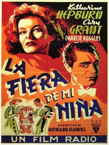 Bringing Up Baby, Spanish Movie Poster, 1938 Lámina