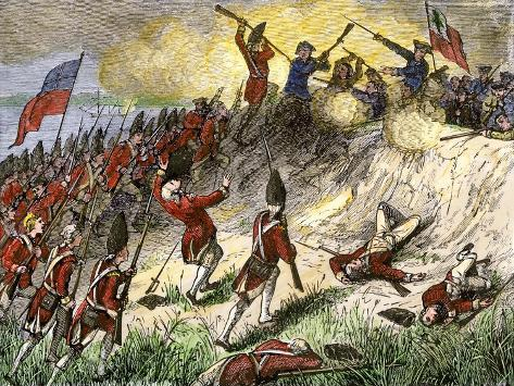 British Assault on the American Position Atop Breed's Hill, Battle of Bunker Hill, c.1775 Giclee Print