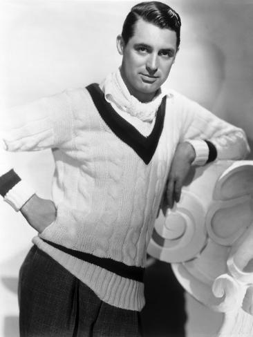 British Born Actor Cary Grant (1904 - 1986), Born Archibald Leach, Wearing a Cricket Sweater Foto