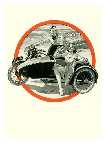 British BSA Motorcycle Sidecar Giclee Print