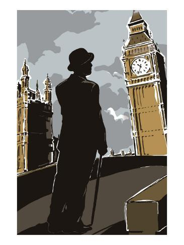British Male in Suit, Big Ben Art Print