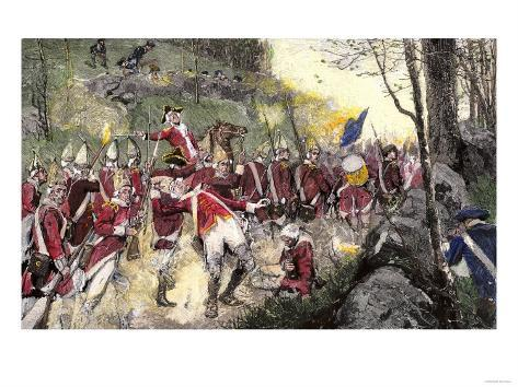 British Retreat from Concord under Fire from Colonial Minutemen in Ambush, c.1775 Giclee Print
