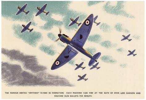 Supermarine Spitfire Poster Patent Print Royal Air Force aircraft wall art WWII