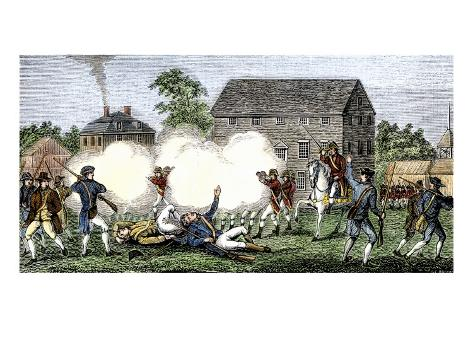 British Troops Firing on Americans at Lexington, First Battle of American Revolution, c.1775 Stretched Canvas Print