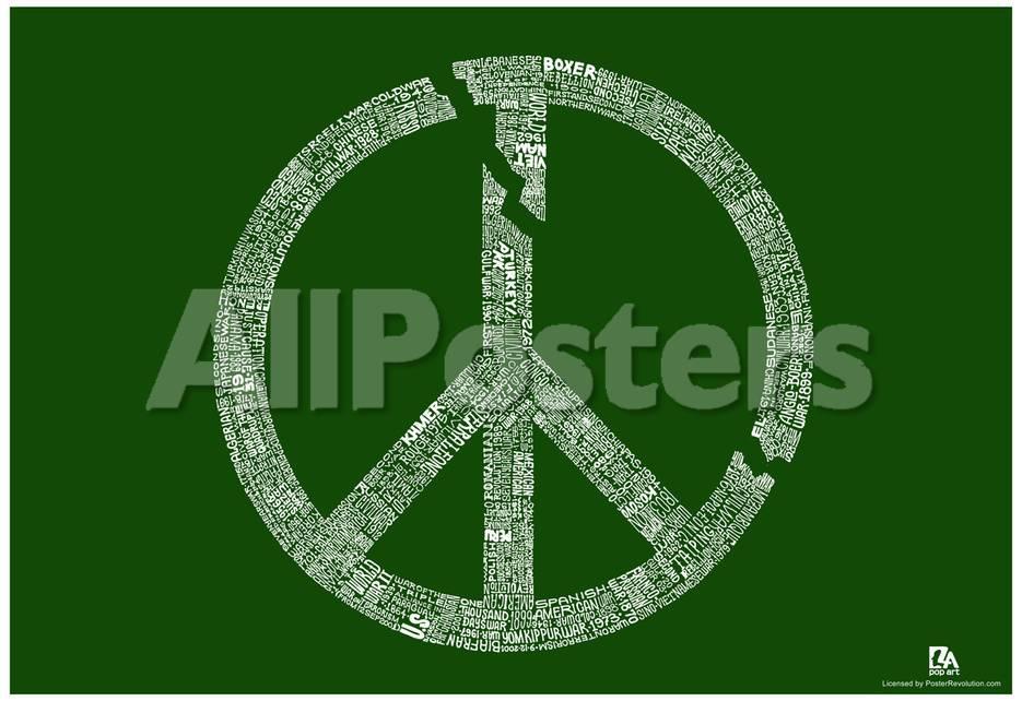 Broken Peace Sign War Text Poster Print Bij Allposters