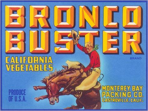 Bronco Buster Vegetable Crate Label Stampa artistica