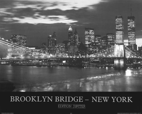brooklyn bridge new york skyline photo print poster posters. Black Bedroom Furniture Sets. Home Design Ideas