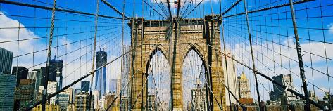 Brooklyn Bridge with Freedom Tower, New York City, New York State, USA Photographic Print