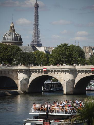 Tour Boat in River Seine with Pont Neuf and Eiffel Tower in the Background, Paris, France Photographic Print