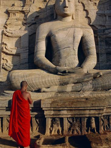 Monk in Front of the Seated Buddha Statue, Gol Vihara, Polonnaruwa, Sri Lanka, Asia Photographic Print