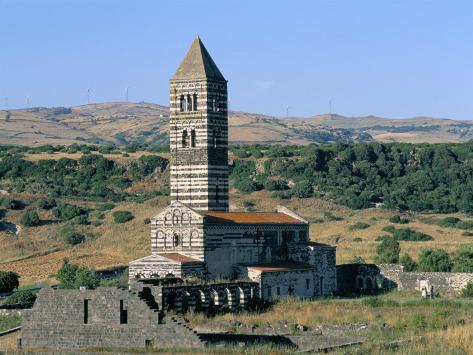 Santa Trinita Di Saccargia Church, Sassari, Island of Sardinia, Italy, Mediterranean Stampa fotografica