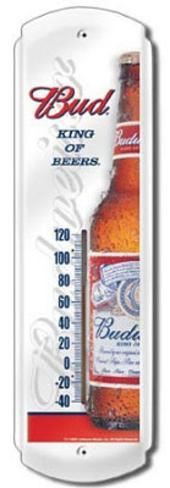 Budweiser King of Beers Indoor/Outdoor Thermometer Tin Sign