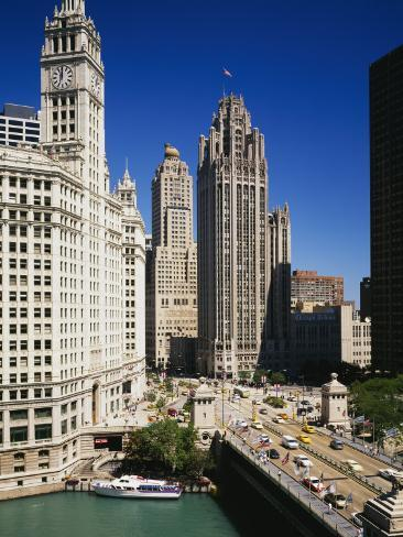 Buildings in a City, Wrigley Building, Chicago, Illinois, USA Stretched Canvas Print