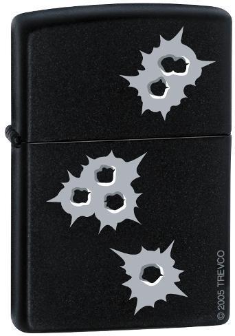 Bullet Holes - Black Matte Zippo Lighter Lighter