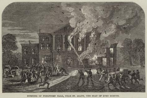 Burning of Pengwern Hall, Near St Asaph, the Seat of Lord Mostyn Giclee Print